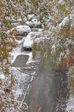 The snow and puddles. On wet asphalt the car, snow and puddles Royalty Free Stock Photos