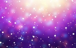 Snow purple empty background. winter blurred texture. Xmas magic illustration. Snowfall in front of garland lights. Glare confetti. Stylish image for a variety Royalty Free Stock Image