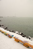 Snow on the quay of Pomorie in Bulgaria Stock Photos