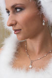 Snow Queen #1. Bride in white feathers stock photos