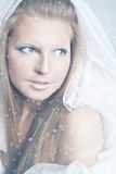 Snow queen. Studio face portrait of beautiful young girl with fashionable winter makeup on white background Stock Images