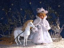 Snow Queen. With white horse and sledge Royalty Free Stock Images