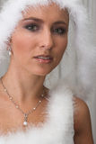 Snow Queen #2. Bride in white feathers stock images