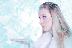 Snow Queen. Beautiful girl in white and silver dress in the frame of the Snowflakes Stock Photography