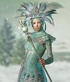 Snow Queen. A snow queen with a lace dress and magic wand Royalty Free Stock Image