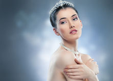 Snow Queen. With a crown Stock Photos