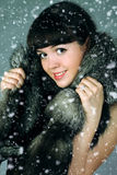 Snow queen. The beautiful Girl in a fur cape royalty free stock photos