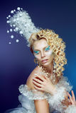 Snow-queen. Young woman in creative image with silver blue artistic make-up and perfect hairstyle Royalty Free Stock Photos