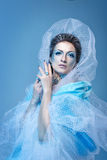 Snow Queen. Attractive young girl with a theatrical makeup on the face in the image fabulous snow queen Stock Image