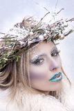 Snow Queen. Beautiful girl as Snow Queen stock photos