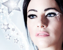 Snow queen, beautiful woman in Christmas style Stock Images