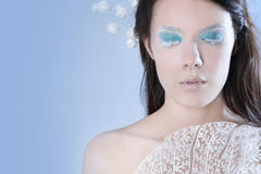 Snow queen on blue Stock Photos