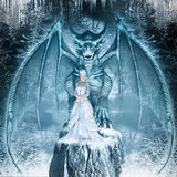 Snow Queen and blue dragon. Fantasy image with blue dragon and Snow Queen on the ice covered rock Royalty Free Stock Images