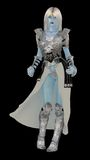 Snow queen. Blue skinned fantasy ice queen in armour isolated on black Royalty Free Stock Image