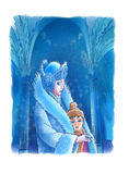 The Snow Queen and the boy. The Snow Queen  covers the boy a fur coat Stock Images