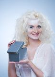 Snow queen with a christmas box Royalty Free Stock Photos