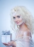 Snow queen with a christmas box Stock Image