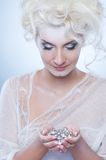 Snow queen with a christmas decoration Royalty Free Stock Photos