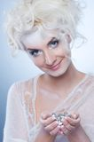 Snow queen with a christmas decoration Royalty Free Stock Images