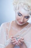 Snow queen with a christmas decoration Stock Photo