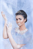 Snow queen concept showing her hands. Beautiful snow queen concept showing her hands on frozen background Stock Image