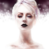 Snow Queen, creative closeup portrait of girl with Royalty Free Stock Photos