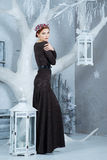 Snow Queen, december. Elegant woman in long dress. Winter Royalty Free Stock Images