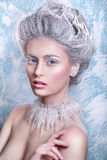Snow Queen.Fantasy girl portrait. Winter fairy portrait.Young woman with creative silver artistic make-up. Winter Portrait. stock photos