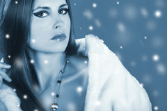 Snow queen fashion winter portrait of a beautiful girl in fur Stock Photography