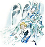 Snow Queen and little boy. In ice castle Stock Photography