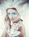 Snow Queen over white background Stock Image