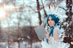 Snow Queen Reading Spell Book in Winter Fantasy Stock Images