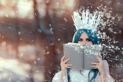 Snow Queen Reading Spell Book in Winter Fantasy Stock Photo