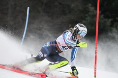 Snow Queen Trophy 2019 - Ladies Slalom royalty free stock images