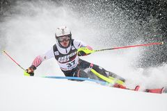 Snow Queen Trophy 2019 Mens Slalom. Zagreb, Croatia - January 6, 2019 : Istok Rodes from Croatia competes during the Audi FIS Alpine Ski World Cup Mens Slalom royalty free stock photos