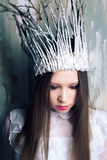 Snow queen in white crown Royalty Free Stock Image
