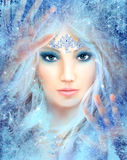 Snow queen. Winter beautiful woman. Stock Photo