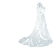 Snow queen woman on white. Snow queen woman with snowflakes and icicles on her robe on white Royalty Free Stock Photo