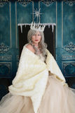 Snow queen wrapped in fur cloak. Portrait of snow queen wrapped in fur cloak sitting on her throne Stock Photography