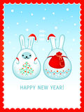 Snow rabbits Christmas card Stock Photos