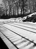 Snow rail to somewhere place Royalty Free Stock Photography