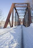 Snow on railroad tressle Stock Photos
