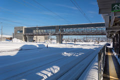 Snow on railway station with blue sky in Japan. Stock Photography
