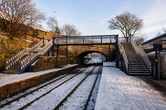 Snow on railway track, Nothern England Stock Photo