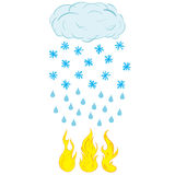 Snow rain and fire. The snowfall passing into a rain and a fire Royalty Free Stock Images
