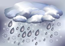 Snow and rain, weather. Illustration of snowy type of weather Royalty Free Stock Photos