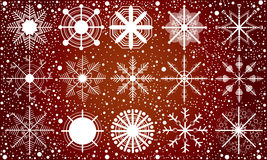 Snow on red background. Royalty Free Stock Images