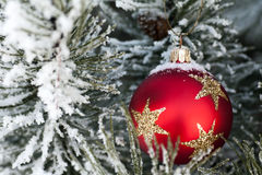 Snow on red christmas bauble Royalty Free Stock Image