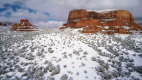 Snow on Red Rocks stock footage