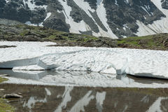 Snow is reflecting in the lake of meltwater Stock Images